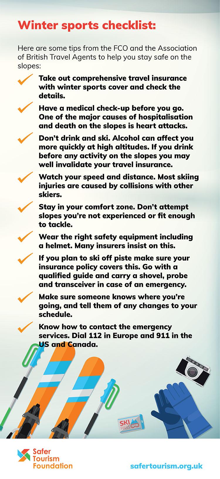 Winter sports checklist